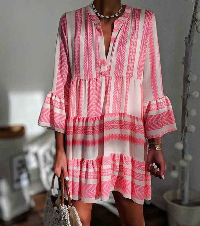 Летние полосатые платья Мини женские 2019 Boho осенние вечерние короткие пляжные платья повседневные свободные Сарафаны с v-образным вырезом femme Vestidos