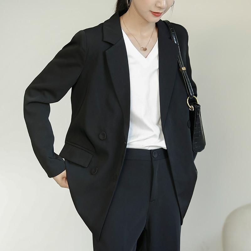 2020 Office Ladies Black Blazer Long Sleeve Double-breasted Women Suit Jacket Elegant Notched Collar Black Blazer Female vs341