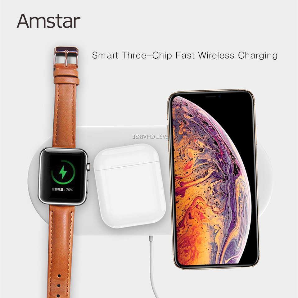 Amstar 3 في 1 شاحن لاسلكي ل Airpods أبل ساعة 5 4 3 2 1 iWatch 10 واط سريع لوحة شحن لاسلكي آيفون 11 برو XS X 8
