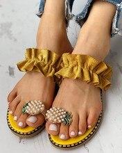 цены 2020 Summer Women Sandals Slippers Shoes Flat Flip Flops Pineapple Pear Beach Sandals Ladies Shoes Platform Women Shoes