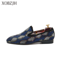 Italian Genuine Leather Wedding Loafers Men Luxury Formal Dress red bottom Shoes Designer Blue Rhinestone Prom Big Size