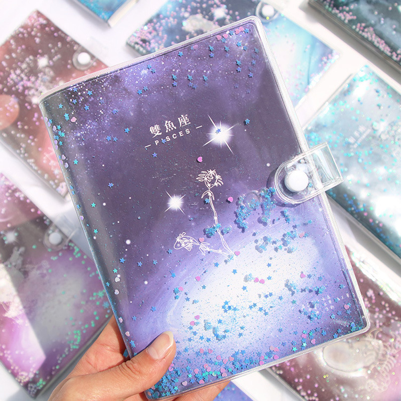 <font><b>Kawaii</b></font> 12 Constellation Quicksand Cover <font><b>Notebook</b></font> Agenda <font><b>Diary</b></font> Planner Organizer Notepad School Office Stationery For Boys Girls image