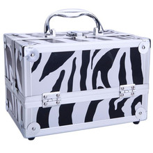 SM-2176 Aluminum Makeup Train Case Jewelry Box Cosmetic Organizer with Mirror 9″x6″x6″ White Zebra