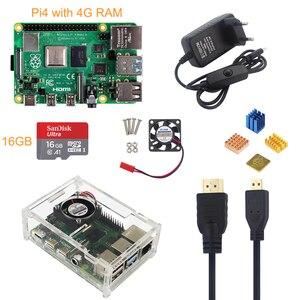 Image 2 - Raspberry Pi 4 Mẫu B 4G + 5V 3A Bộ Đổi Nguồn Điện + Tặng Vỏ Acrylic + Quạt Làm Mát + HMDI + Tản Nhiệt + 16/32G SD Card Tùy Chọn