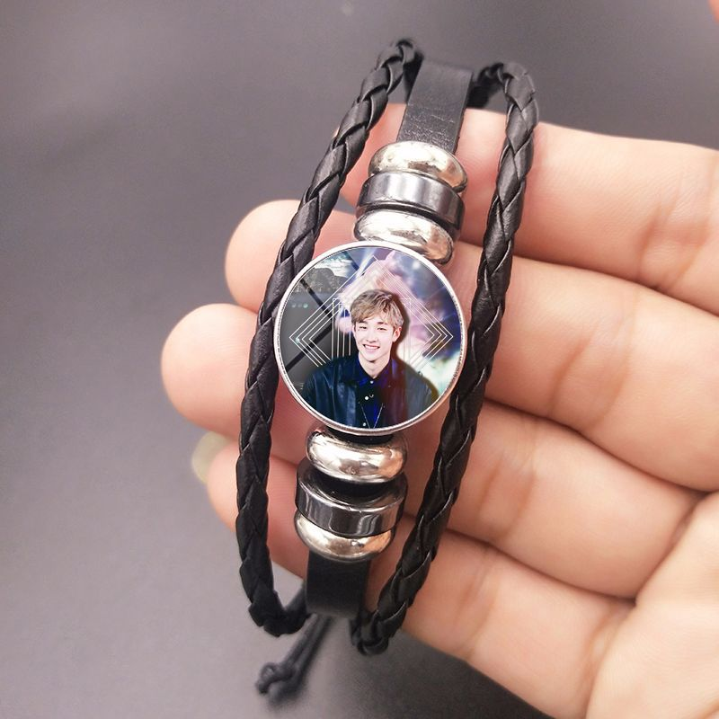 Kpop Stray Kids Album Photo Crystal Bracelet DIY Braided Beaded Korean Fashion Style Gift For Fans Collection Kpop Stray Kids