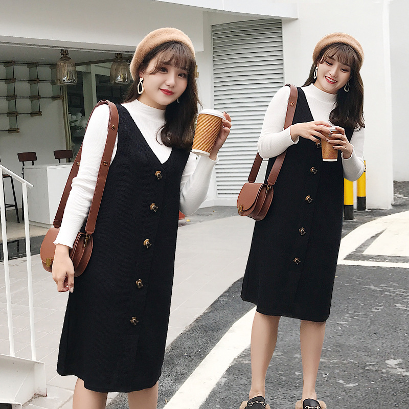 Large Size Fat Mm Long Sleeve High Collar WOMEN'S Suit Slimming Waistcoat Western Style Vest Two-piece Dress Of Knitted Sweater