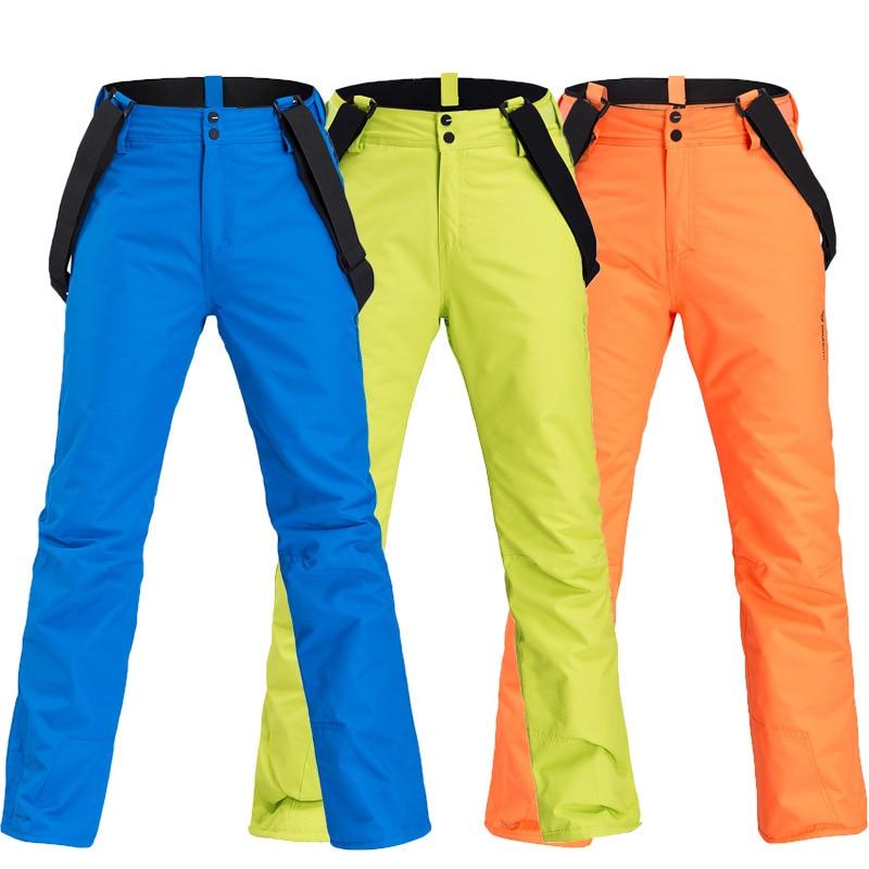 Hommes pantalons de Ski marques nouveau Couple Sports de plein air haute qualité bretelles pantalon coupe-vent imperméable chaud hiver neige Snowboard