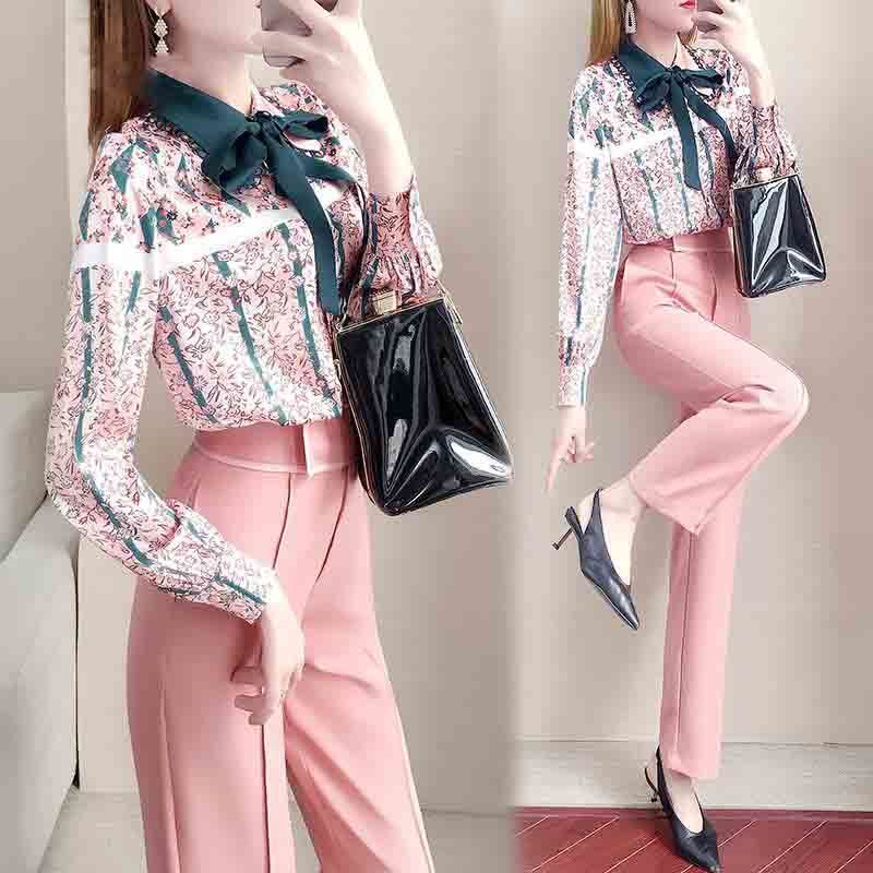 Spring Women Suit Clothing 2 Piece Set Vintage Floral Print Bows Shirts Blouses And Slim Pants Set Female Pants Suit NS355