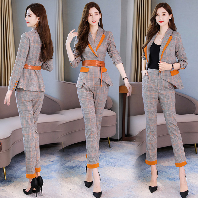 High Quality Professional Women's Suits 2019 New Autumn Slim Plaid Ladies Jacket Female Office Slim Trousers Two-piece Set