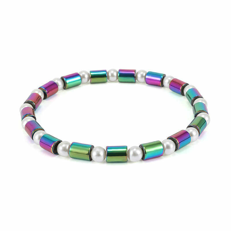 Weight Loss Hematite Magnet Anklet Colorful Stone Magnetic Therapy Bracelet Chain Anklet Weight Loss Product Body Slim Jewelry