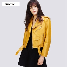 SWYIVY Womens Faux Leather PU Jacket Coats Winter Soft Jackets And Lady  Zippers Motorcycle Streetwear