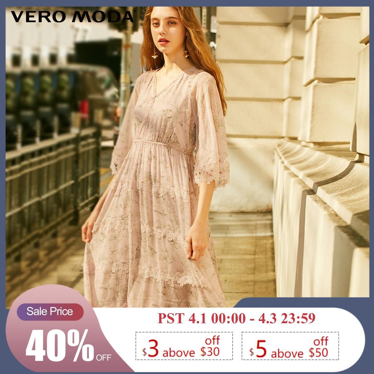 Vero Moda Women's Laced 3/4 Sleeves Printed Chiffon Dress   31917C549