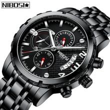 лучшая цена NIBOSI Relogio Masculino Mens Watches Fashion Top Brand Luxury Quartz Watch Men Full Steel Waterproof Sport Business Men Watch