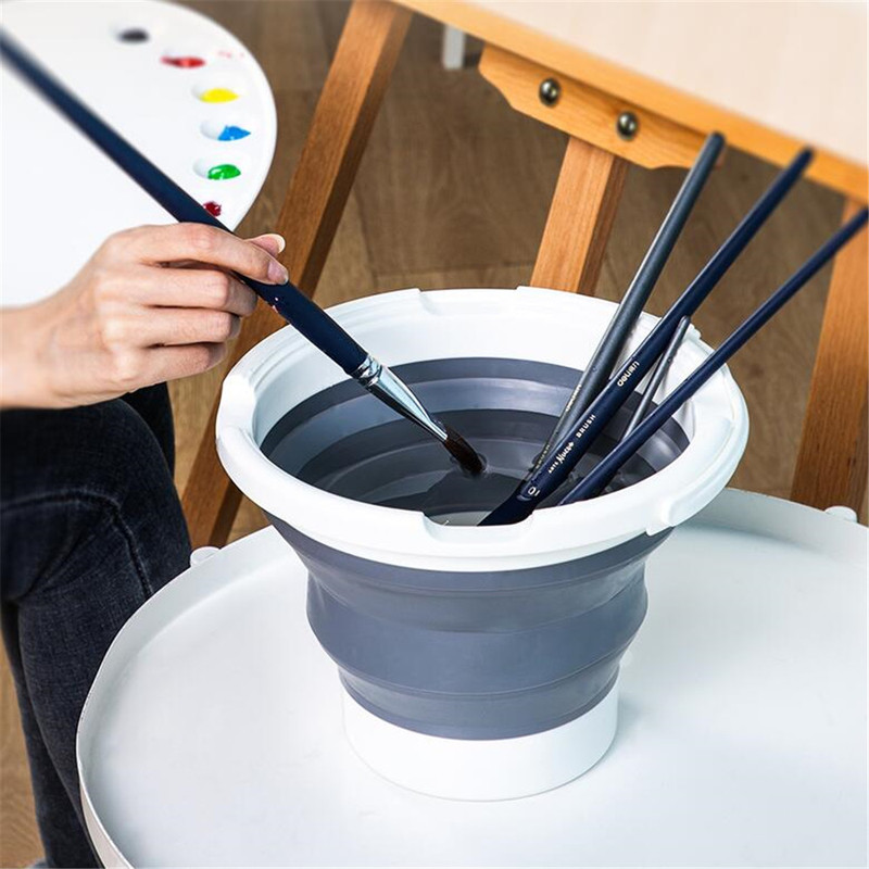 2.7 L Folding Pen Washing Bucket Gray Drawing Painting Art Buckets Pens Barrel Container Round Paint Cups Kids Brush Pen Holder