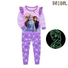 Brilho no escuro meninas dos desenhos animados bonito crianças roupas de manga longa pijamas criança conjunto pijama unicórnio pijamas homewear congelados