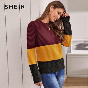 Image 5 - Женский разноцветный вязаный свитер SHEIN, мягкий теплый свитер в рубчик с круглым вырезом и длинными рукавами, Повседневная Уличная одежда на осень и зиму