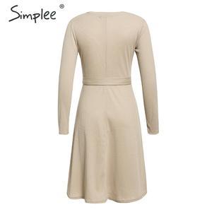 Image 4 - Simplee אלגנטי נשים סרוג סוודר שמלת אונליין שרוול ארוך רצועת חורף שמלת מוצק o צוואר נדן סתיו גבירותיי midi שמלה