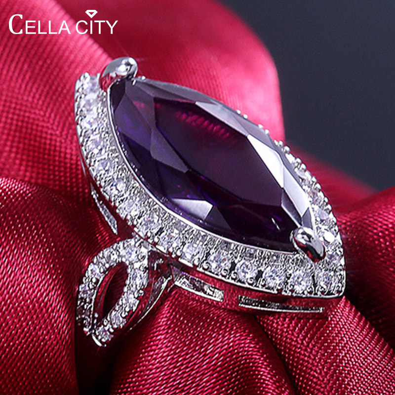 Cellacity Classic Silver 925 Rings With 10*20mm Big Amethyst Gemstone Horse Eye Zircon Lady Fine Jewelry Women Party Wholesale