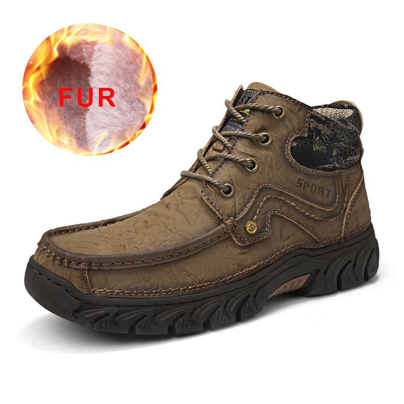 Hot Sale Male Snow Boots Warm Fur Winter Shoes Men Waterproof Footwear Breathable Shoes Casual Slip On Comfortable Fashion 2019