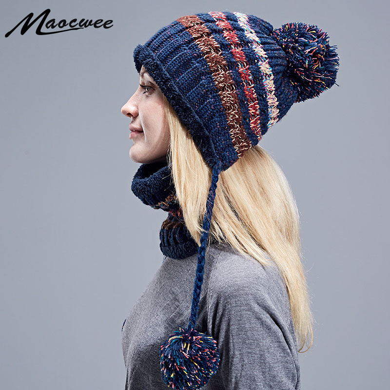 Beanies Knitted Skullies Hats Two-piece Scarf Hat Set Women Men Hat Autumn And Winter Warm Unisex Solid Color Striped Cap