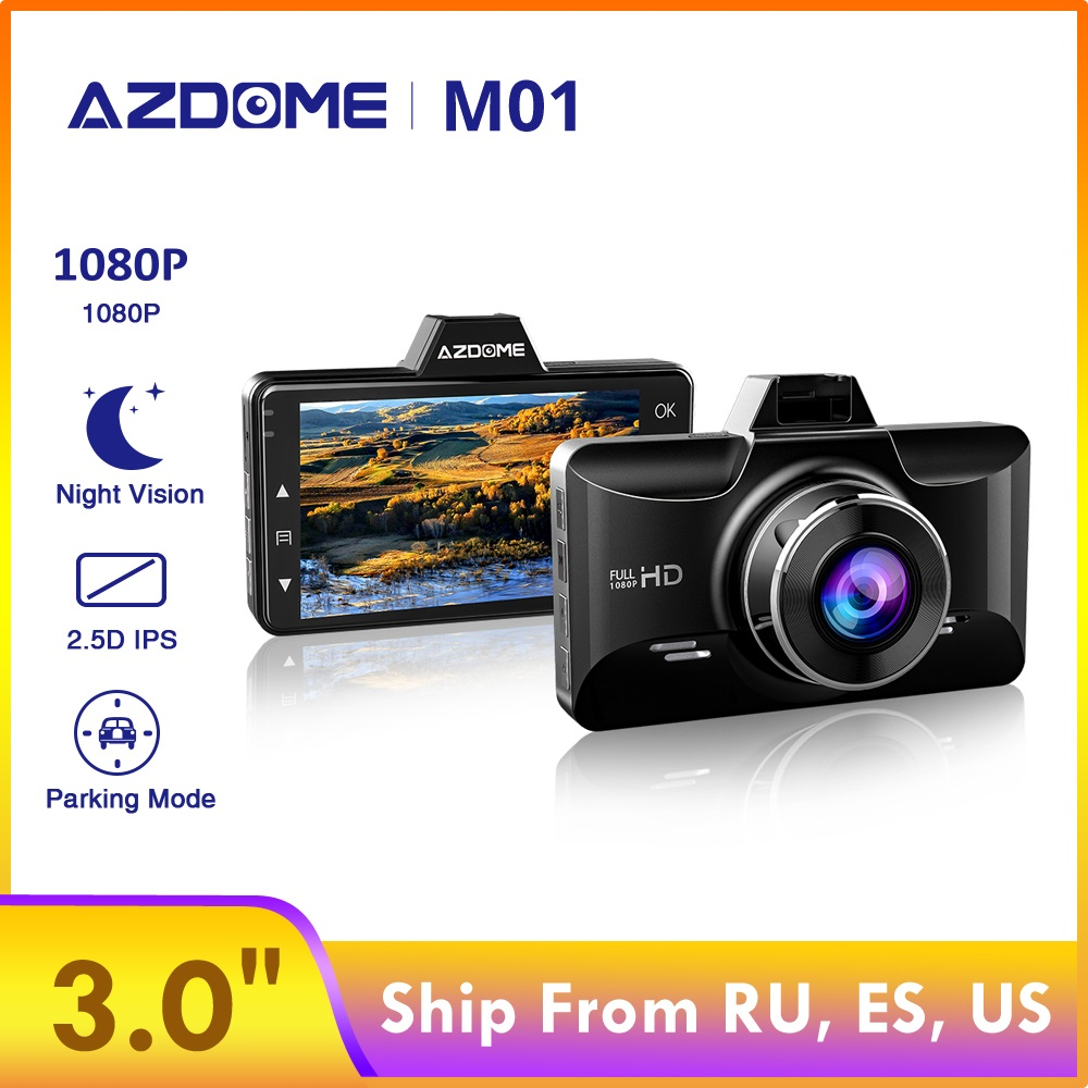 AZDOME Car DVR M01 Dash cam 3-Inch 2.5D Screen 1080P HD Recorder Driver Fatigue Alert 170 View Angle G-sensor for <font><b>Uber</b></font> Lyft image