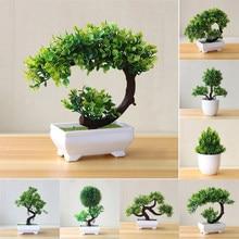 Plantas artificiais vasos bonsai decorativo verde pequenas árvores falsas flores festa escritório mesa ornamento para casa decoração do jardim