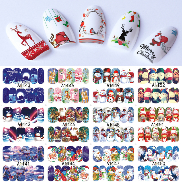 48 sheets Nail Stickers Set Christmas Winter Snowflake Women Red White Slider Gift Manicure Foil For Nail Art Decal SAA1129 1176
