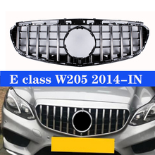 Front Grille Chrome + Shiny Black For M-Benz 2014-up E-Class W212 GT Style