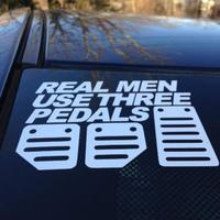 Real Men Use Three Pedals car stickers 1