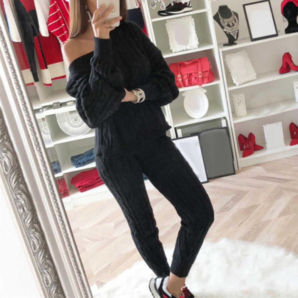 Musim Dingin Rajutan Dua Sepotong Set Wanita Lengan Panjang Off-Shoulder Kasual Sweater Jumpsuits Stripe Elastis Overall Streetwear