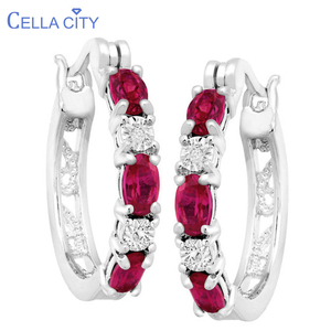 Cellacity Delicate Round Silver 925 Jewelry Gemstones Earrings for Women Oval shaped Ruby Ear drops Dating Female Gift Wholesale