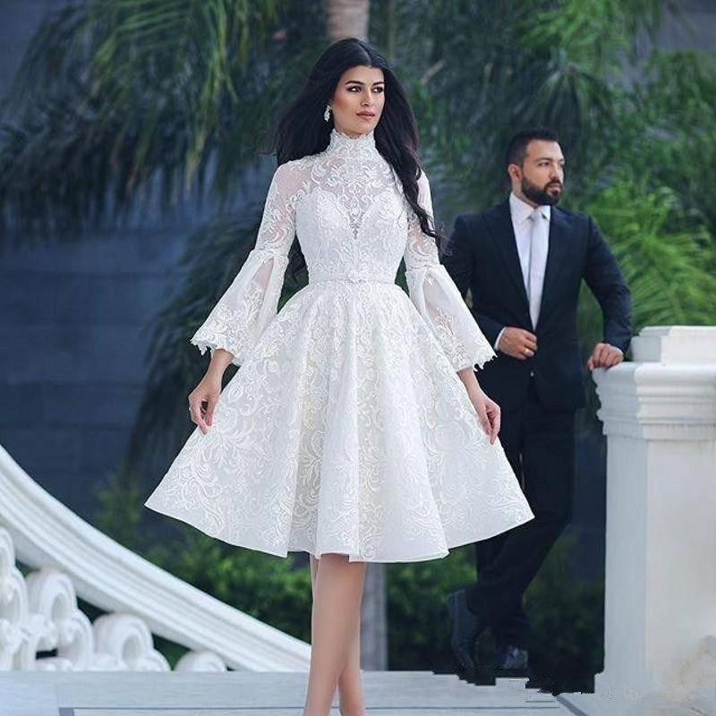 Hot Sale 2021 Arabic Ivory Knee Length Prom Party Dresses A Line Long Sleeves High Neck Wedding Guest Gowns Lace Short Appliqued