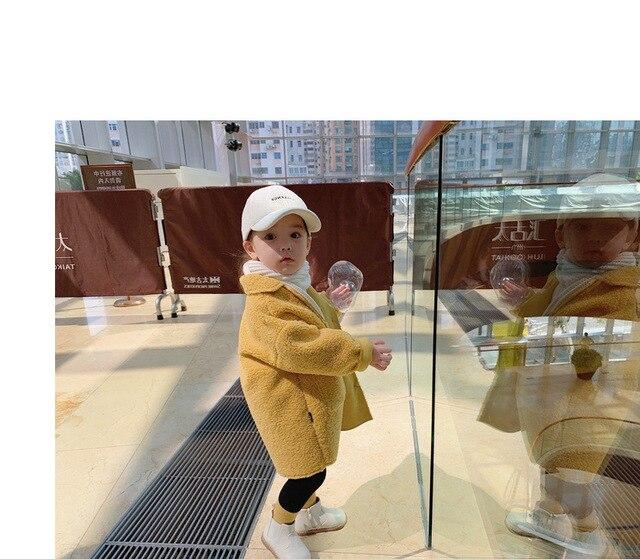 Hot Sale Girl's Coat Deer Leather Velvet Plus Lamb Velvet One-body Coat Winter Wear Children's Clothing Baby Girl Long Jacket 5