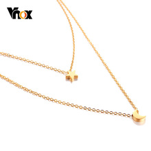 Vnox Star Moon Charm Layered Choker For Women Gold Color Stainless Steel Doule Layer Necklace Elegant Party Jewelry