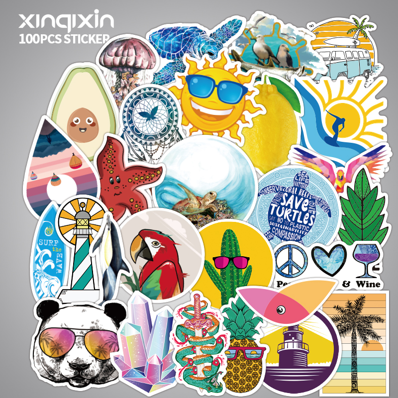 100 PCS Skateboard Fashion Outdoor Fresh And Lovely Waterproof Sticker For Luggage Car Guaitar Skateboard Phone Laptop Stickers