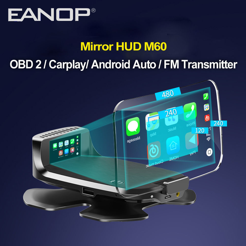 EANOP HUD M60 Mirror Head Up Display OBD 2  Car Charger With Voice Controlling Support Carplay Andorid Auto Google Map