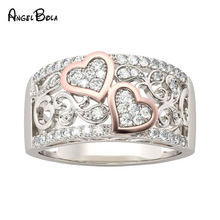 Fashion Design Jewelry Wedding Band Rings for Women Rose Gold Color CZ Stone Female Finger Ring Love Gifts Drop Shipping vnox three tone mix color rings for women love hope faith wedding band ring