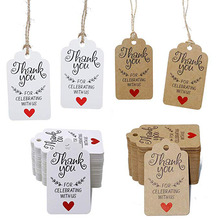 100pcs kraft paper thank you for celebrate with us tags wedding gift tags,package labels,jewelry handmade price labels