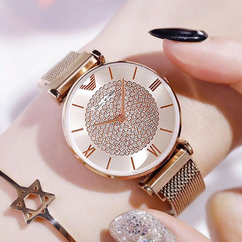 Fashion Women Watch 2020 Female Magnetic Quartz Wristwatches Brand Luxury Women's Crystal Rose Gold Watch Ladies Bracelet Clock