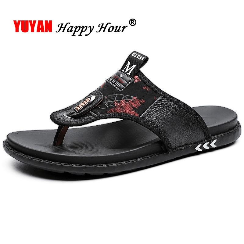 Cow Leather Mens Sandals Flip Flops Summer Men Beach Sandals Male Casual Shoes Fashion Slippers Brand Black Sandals A1292