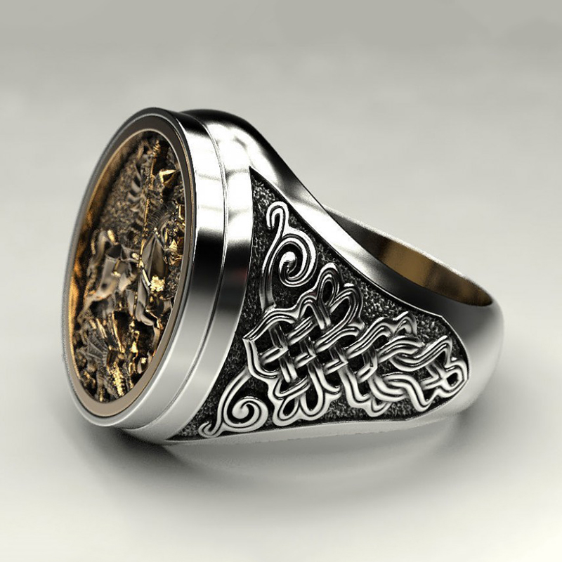2020 Hot Punk Cool Male Finger Ring Two-color Gold Metal Roman Soldier Malone Ring Fashion Jewelry Vintage Knight Rings Ancient
