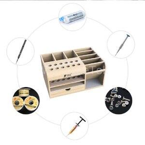 Image 5 - Mutifunctional caja de almacenamiento de madera REPARACIÓN DE Teléfono de Escritorio destornillador soporte para pinzas piezas de teléfono organizador
