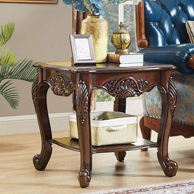 US $213.64 30% OFF|American small coffee table solid wood carved lace table  European style living room small square table sofa corner table side ca-in  ...