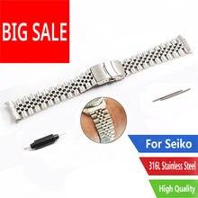 CARLYWET 22mm Sliver Watch Band bransoletka jubileuszowa Hollow zakrzywiony koniec stałe śruby linki stal nierdzewna srebrny dla Seiko SKX 007