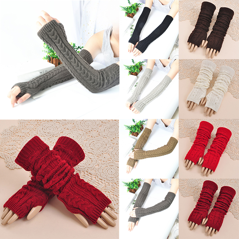 1 Pair Winter Women Girls Arm Gloves Long Half Knitted Arm Sleeves Warm Thicken Riding Winter Mittens Sleeve
