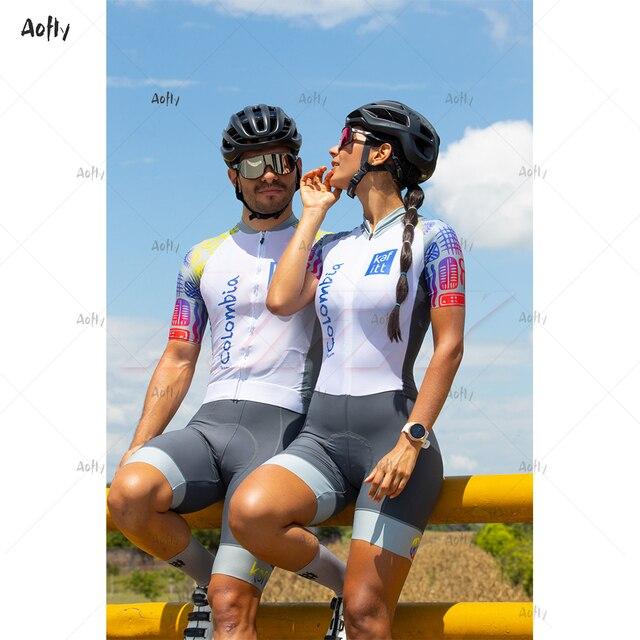 Equipe colômbia 2020 branco masculino feminino ciclismo terno sexy macacão feminino umidade wicking triathlon esportes skinsuit uv reflexivo 2