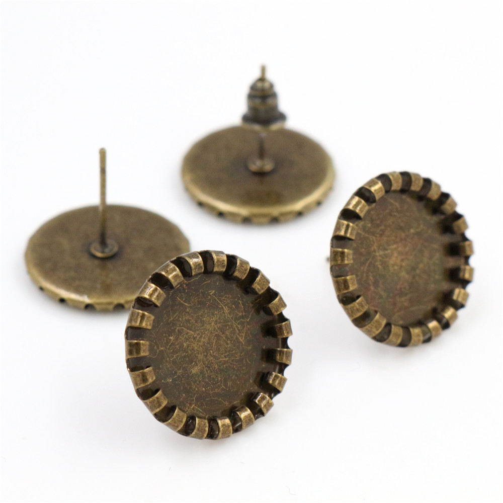12mm 20pcs Antique Bronze Plated Earring Studs,Earrings Blank/Base,Fit 12mm Glass Cabochons,Buttons;Earring Bezels (L4-09)