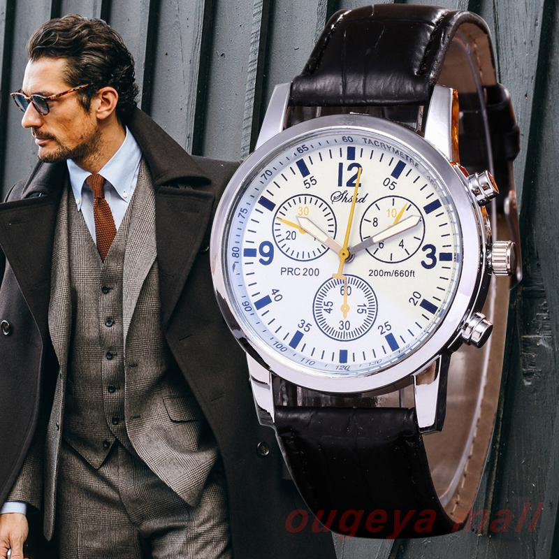 Fashion Casual Men's Watch Leather Band 3 Eyes Clock Hot Style Watches Men Quartz Wristwatch Gift Relogio Relojes Hombre 2019