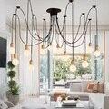 Современный деревянный подвесной светильник паук винтажный шнур подвесной светильник Черный Провод Эдисон E27 Подвесная лампа