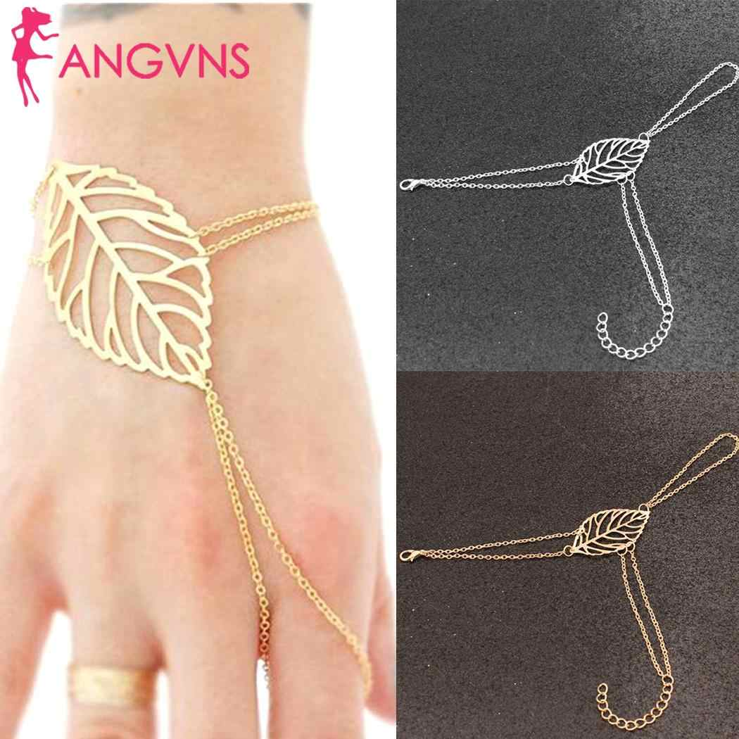 New Women Fashion Leaves-shaped Multi-layers Bangle Bracelet Chain Wristband Silver, Golden Beauty Everyday